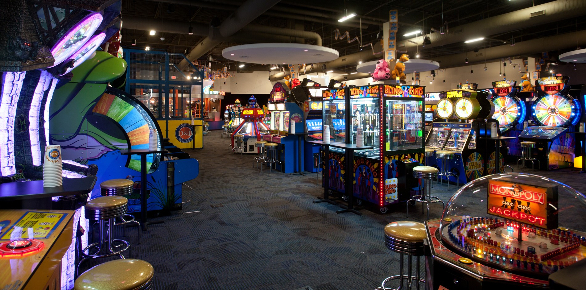 The Dave and Buster's in Braintree is at least four times that of the one in Providence. It is located right next to the South Shore Plaza mall. Once you walk in, you are carded immediately.